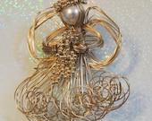 Angel Artisan Brooch Wire Pearl Beads