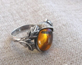 Genuine Baltic AMBER- sterling silver - Ring - size 7