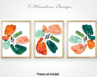Orange Green Abstract Floral Art Prints Set of (3) 5x7, 8x 10, 11x14 // Watercolor Black // Modern Flower Home Art Decor, Unframed