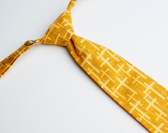 Mustard Cross Neck Tie With Adjustable Strap