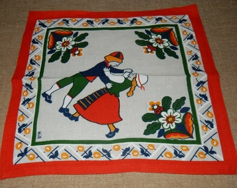 Swedish lovely hand printed doilie 1960 s / natinal costumes + flowers / Hill design