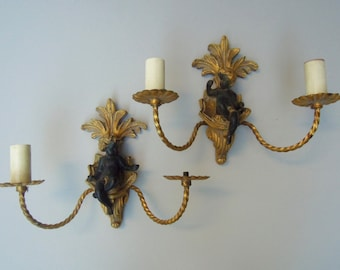 Pair of Vintage Italian Sconces with Cherubs with Gilt