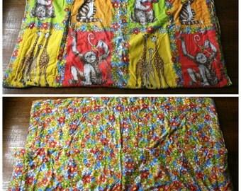 Vintage Adorable 70s Cute Animal Flower Power Comforter. Retro Childrens Blanket. Retro Hippie Boho Cute Kids Floral Sleeping Bag