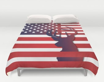 American Flag Duvet cover USA Flag Duvet cover Flag gift idea Wolf duvet cover King duvet cover queen duvet cover twin duvet cover full duve