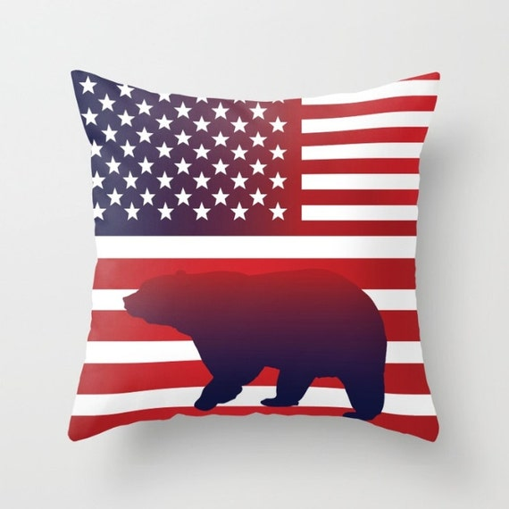 Throw Pillows Usa : American Flag Pillow USA flag throw pillow Flag art Bear