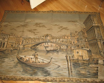 Tapestry wall scene wall bridge in Venice, carpet, shade of blue