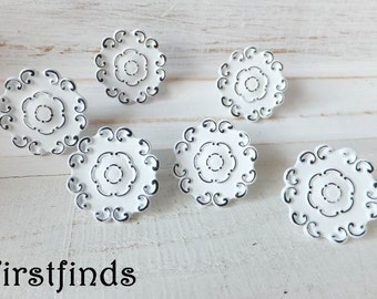 6 Lace Knobs White Shabby Chic Kitchen Drawer Hardware Painted Cabinet Pulls Metal Door Cupboard Furniture Distressed ITEM DETAILS BELOW