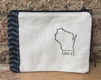Wisconsin Local Hand Made Clutch / Travel Bag