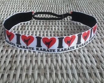 White Karate Headband - Girls Sports Headbands