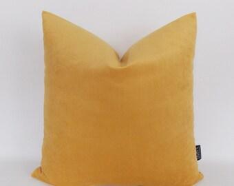 Mustard Velvet Cotton Pillow Cover, Throw Pillow Cover, Decotative Throw Pillows, Mustard Velvet Cushion,12,14,16,18,20,22,24,26,28,30 inch