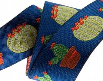 Cactus Blue Ribbon Jessica Jones Renaissance Ribbons - 1 Yard - Succulent Ribbon - Renaissance Ribbons Dark Blue Ribbon Plant Ribbon