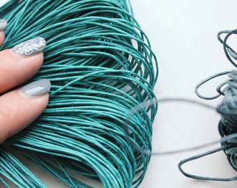 Teal color Wax Cotton Cord 1mm 10 meters - 10,9 yards or 32,8 feet