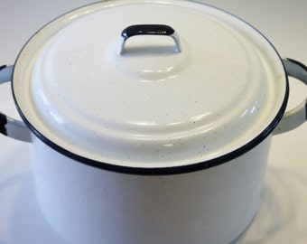 SALE! Large White Enamelware Stock Pot with Black Trim