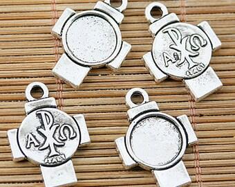 16PCS Tibetan silver tone cross shaped cameo cabochon settings EF1799