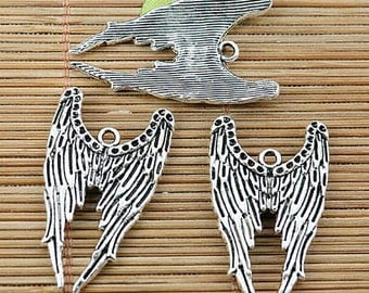 8pcs tibetan silver plated angel wing charm pendants EF1933