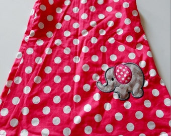 Ready to Ship Pink Dot Aline with Elephant Appliqué in 3T Only