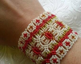 Goddess of fire beadwoven bracelet cuff seed beads rocailles