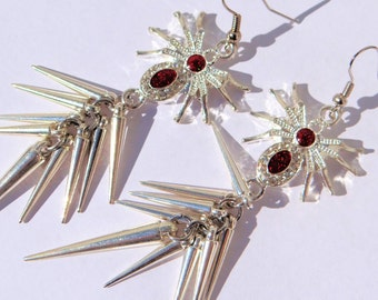 Red spider spike earrings, spike jewelry, Halloween earrings, drop earrings, unique jewelry