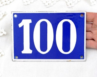 Vintage Traditional French Enamel House Number Plate Number 100 in Blue with White Colored Numbers / Decor / Porcelain Sign / Retro Interior