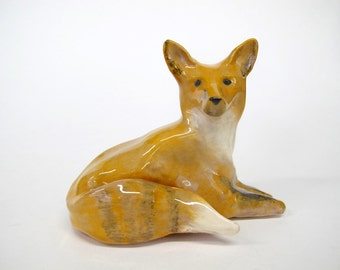Ceramic Fox, Red Fox Sculpture, Grey Fox Sculpture, Animal sculpture, Contemporary Sculpture,Art and Collectibles,Mini Sculpture