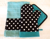 Black & White Polka Dot Teal or Jade Green Oven Mitt Pot Holder Set with optional towel