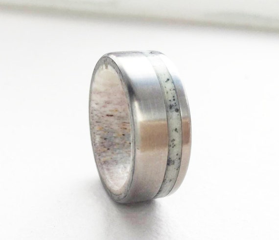 Mens Wedding Band Elk Antler Lined Wedding Ring W Anlter