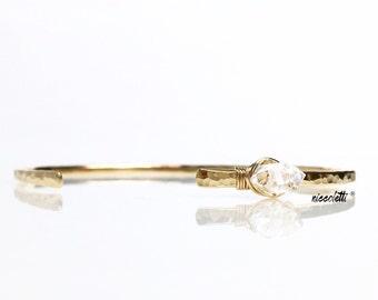 Asymmetric Herkimer Diamond Cuff / Rose Gold / Crystal Quartz Bracelet / April Birthstone Jewelry / Gemstone Jewellery/ Modern Cuff / Blush