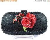 SALE 30% OFF Black Beaded Crystal Clutch, Red Rose Bridal Clutch, Black Red Wedding Purse, Rose Crystal Evening Bag