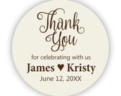 Thank You Stickers - Cream Brown Wedding Labels, Anniversary, Party, Celebration, Baby Thank You Personalized Party Stickers - Custom Labels