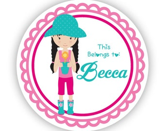 Personalized Name Label Stickers - Pink Turquoise Garden Sticker, Gardener Name Tag Sticker Labels - Back to School - This Belongs To Labels