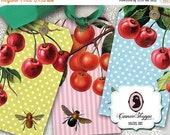 75% OFF SALE CHERRIES And Bees 01 Digital Collage Sheet Collage Shabby Chic Digital Tags Instant Download