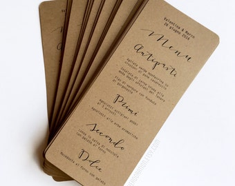 Simple calligraphy Menus (Wedding / Rehearsal Dinner/ Reception Menu) kraft rustic wedding, garden wedding