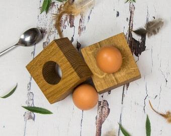 Contemporary Solid Oak Egg Cups - Egg Holder - New Home Gift - Gift For Girlfriend - Gift For Boyfriend - Couple Gift -  Egg Lover - Kitchen