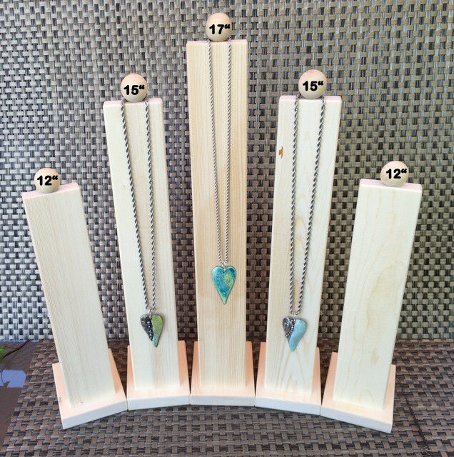 Tall slim line wood necklace jewelry display for Display necklaces craft fair