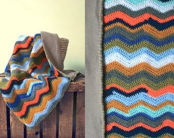 Hooded baby blanket crocheted chevron striped with lining custard blue orange