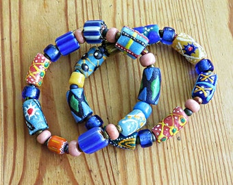 Bracelet Pair, Trade beads in blues and peach, tribal style, African, Krobo beads, padre beads, white heart beads, boho,