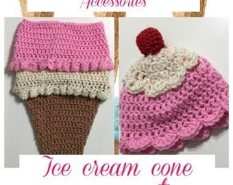 Newborn ice cream cocoon & beanie