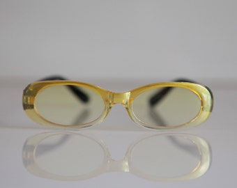 Vintage Crystal Yellow Frame, Black Temples, Yellow lenses. SMALL/PETITE SIZE