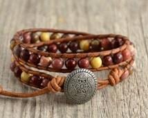 Multi color mookaite semi precious gemstone bead bracelet. Double wrap beaded bracelet
