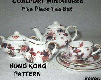 COALPORT HONG KONG Tea Set Miniatures Plus Platter Made in England Collectible Gift Item