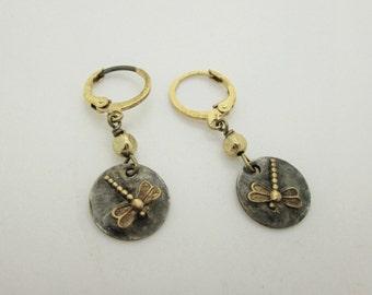 Tiny Brass Dragonfly Earrings, Artisan Dragonfly Charm,