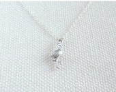 Tiny Flamingo Necklace, Sterling Silver Chain, Quirky Silver Animal Tiny Petite Simple Jewelry