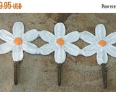 End of Summer Sale Adorable Daisy Metal Wall Hooks Shabby Chic - Made to Order