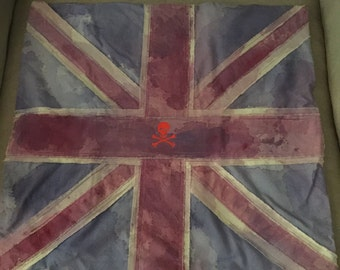 Handmade Union Jack Pillow Cover With Skull And Crossbones Embroidery