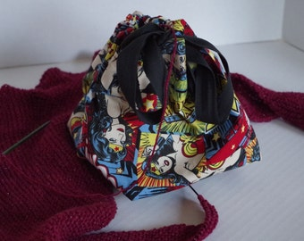 Batgirl and Wonder Woman Reversible Small Sized Project Bag