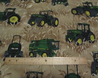 John Deere Wheat Fields Tractor/Combine Cotton Fabric by the Yard