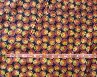 Black/Orange Basketball Cotton Fabric by the Yard