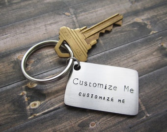 Personalized Keychain, Stainless Steel Keychain, Engraved Keychain, Quote Keychain, Hand-stamped Keychain, Customized Keychain