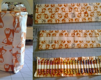 Woodland Fox Crayon Roll with 24 Crayons Included