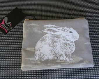 Bunny Print make up bag , accessory bag, phone pouch, purse